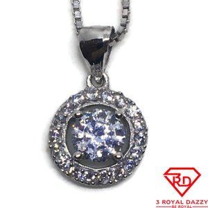 Round Halo with white CZ pendant white gold Layer